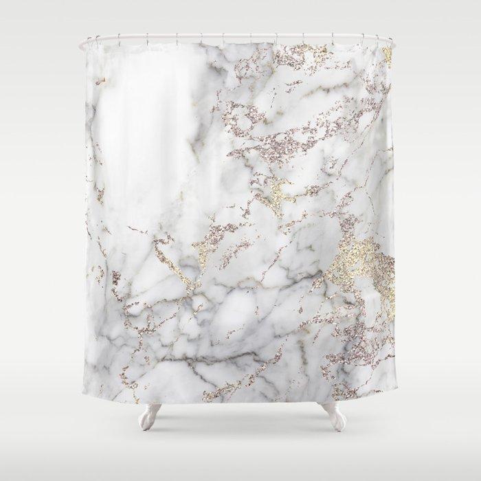 Champagne Rose Gold Blush Metallic Glitter Foil On Gray Marble Shower Curtain