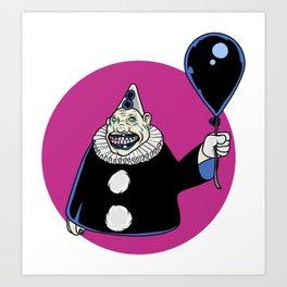 A Creepy Clown with a Balloon Art Print
