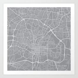 Raleigh Map, North Carolina USA - Pewter Art Print