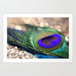 """""""Gold Sparkle & Peacock Feather"""" Art Print"""