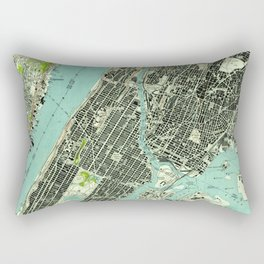 Vintage Central Park & Bronx NY Map (1947) Rectangular Pillow