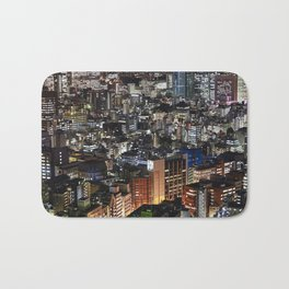Tokyo Buildings at Night Bath Mat