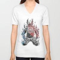 samurai V-neck T-shirts featuring Samurai  by Mikio Murakami