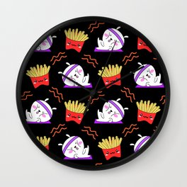 Cute sweet adorable Kawaii fitness bunnies exercising on a yoga mat, yummy happy funny French fries black pattern design Wall Clock