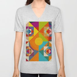 Camahueto - Abstract Colorful Shapes Unisex V-Neck