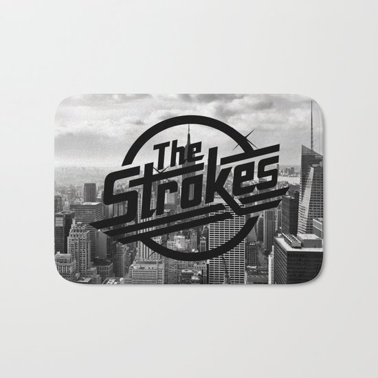 The Strokes Logo New York Black And White Bath Mat