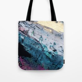 Twilight [2]: a beautiful, abstract watercolor + mixed-media piece in blue, gold, purple, + pink Tote Bag