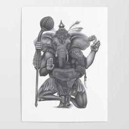 Lord Ganesha As Warrior Poster