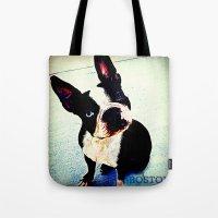 boston Tote Bags featuring Boston by C Liza B