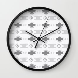 Southwestern Pattern Gray Cream Wall Clock