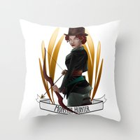 monster hunter Throw Pillows featuring Steampunk Occupation Series: Monster Hunter by kortothecore