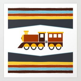 Kids Toy Train Stripes Art Print