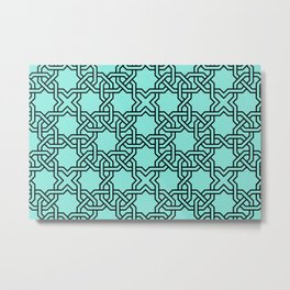 Entwined graphic Lines Home Design - turquoise Metal Print