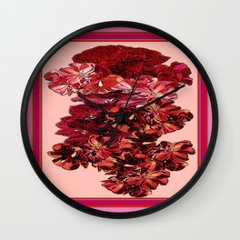 Cranberry-Pink Color Floral Brown Pattern Wall Clock