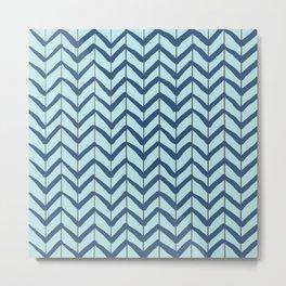 Chevron Arrows Blue Aqua Metal Print