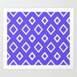 Abstract geometric pattern - blue and white. Art Print