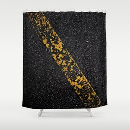 Old Yellow painted line on asphalt road Shower Curtain