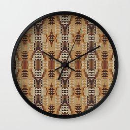 Orange Khaki Dark Brown Mosaic Pattern Wall Clock