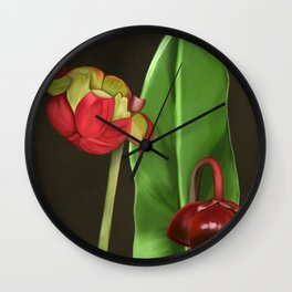 Pitcher Plant Flowers Wall Clock
