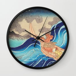 Vision of Prayer on the Waves Wall Clock