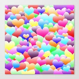 Bubble Hearts Dark Canvas Print