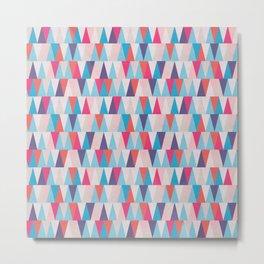 Blue & Pink Geometric Triangle Pattern Metal Print