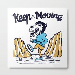 Wolf Runner Keepn on Moving Running Shirt Metal Print