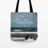 surfing Tote Bags featuring Surfing by Brandy Coleman Ford