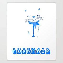 Cute Funny Purring Mermaid Cat Purrmaid Design Art Print