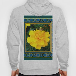 DECORATIVE TEAL & YELLOW  MARIGOLD FLORAL  PATTERN Hoody
