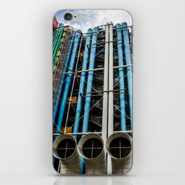 Colored pipelines on the facade of a building iPhone Skin