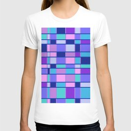 Rectangle Pattern blue violett T-shirt