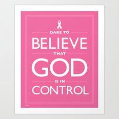 Breast Cancer Awareness Hot Pink Dare Print Art Print