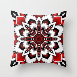 Mandala : Red Flower Mandala Throw Pillow