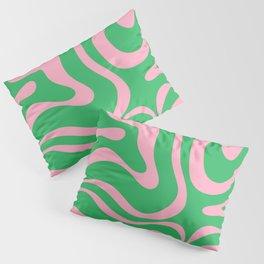 Pink and Spring Green Modern Liquid Swirl Abstract Pattern Pillow Sham