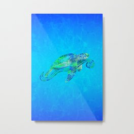Sea Turtle Graphic Metal Print