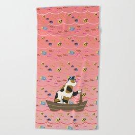 Captain Cat in pink Beach Towel