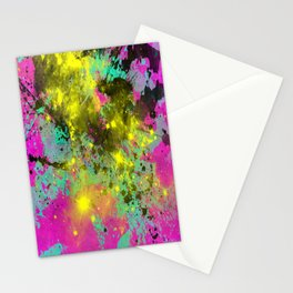 Stargazer - Abstract cyan, black, purple and yellow oil painting Stationery Cards