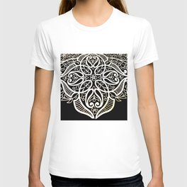 Oriental royal flower pattern in Black and white T-shirt