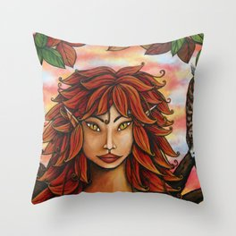 Autumn Faerie by DeeDee Draz Throw Pillow