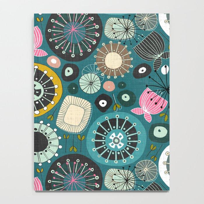 blooms teal Notebook
