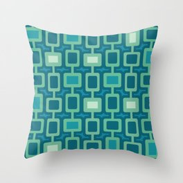 Mid Century Modern Square Columns aquamarine Throw Pillow
