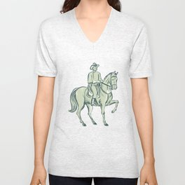 Cavalry Officer Riding Horse Etching Unisex V-Neck