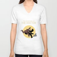 tintin V-neck T-shirts featuring The Adventures Of The Doctor by Deborah Picher Illustrations