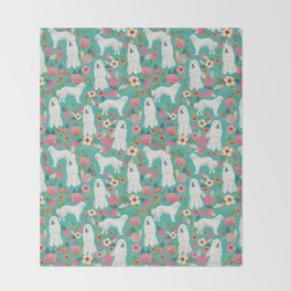Great Pyrenees florals pattern dog breed must have dog lover gifts Throw Blanket