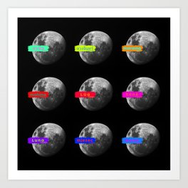 Moon languages of the world Art Print