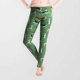 Husky Pattern (Green Background) Leggings