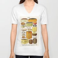 cheese V-neck T-shirts featuring CHEESE by Kathead Tarot/David Rivera