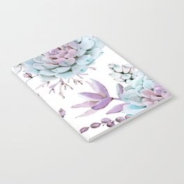 Turquoise and Violet Succulents Notebook