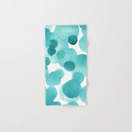 Aqua Bubbles: Abstract turquoise watercolor painting Hand & Bath Towel